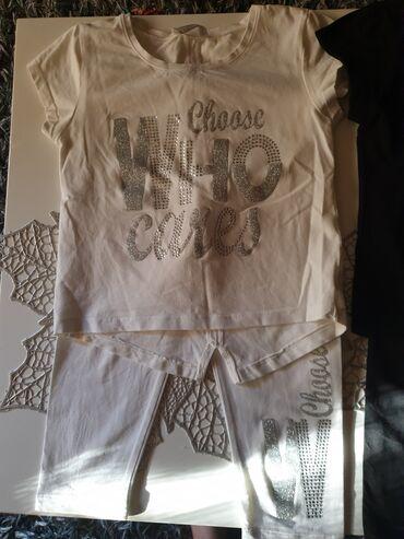 Ostala dečija odeća | Arandjelovac: Komplet majica i helanke u beloj i crnoj boji vel 134