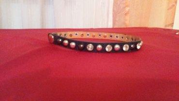 Coker ogrlica od prave koze sa cirkonima i nitnama boje bakra i - Paracin