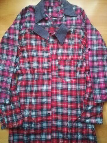 Karirane kvalitetne košulje vel L, crveno i tamno pink, obim grudi 80
