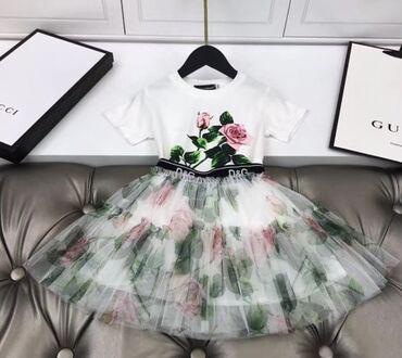 двойки на зиму в Кыргызстан: Очень красивая и стильная двойка для девочки Белая футболка и юбка lux