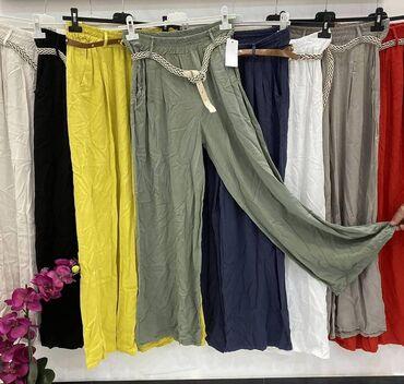 Pantalone pamuk polyester - Srbija: Pantalone u crnoj boji Viskoza pamuk Povoljno