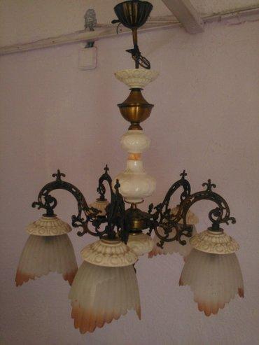 Starinski luster,iz nemacke,izradjen od kovanog gvozdja i porcelana,sa - Pancevo