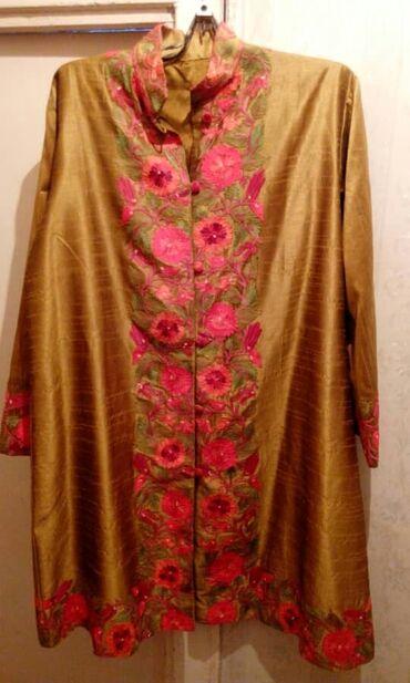 женские платья дешево в Кыргызстан: Вечерний,нарядный тренч из шелка,расшитый из Индии,брали за