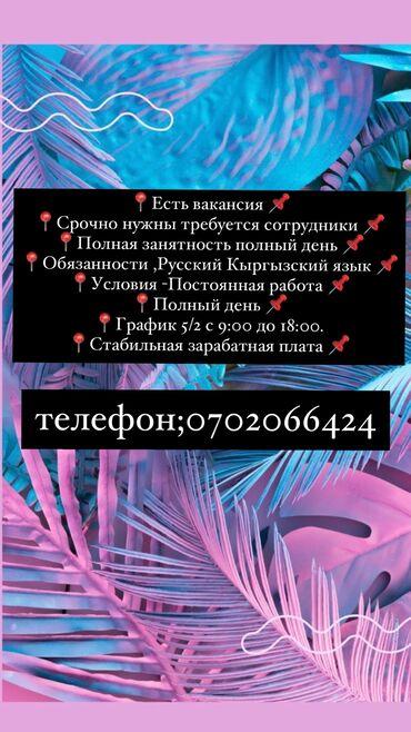 рабочий городок бишкек в Кыргызстан: Нужны сотрудники!!!!Жумуш берилет !!!!График работы Гибкая ! 5/2