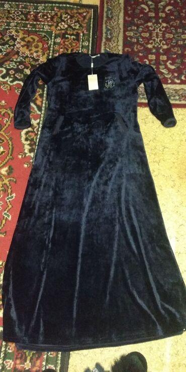 платье с люрексом больших размеров в Кыргызстан: Велюровое платье новое с карманами, размер 46-48
