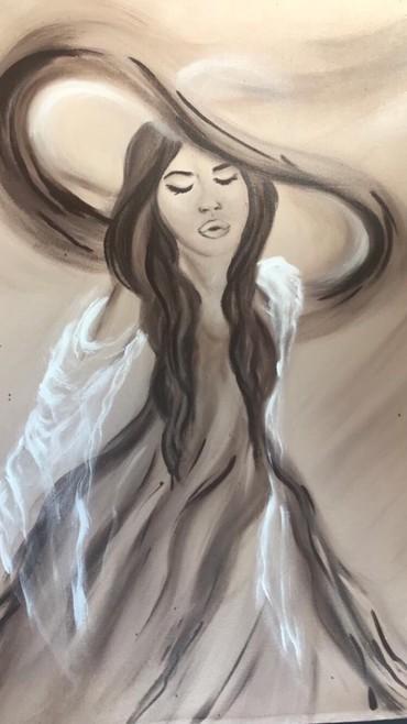 Slika nacrtana akrilnim bojama na skrivenom ramu dimenzija slike je - Paracin