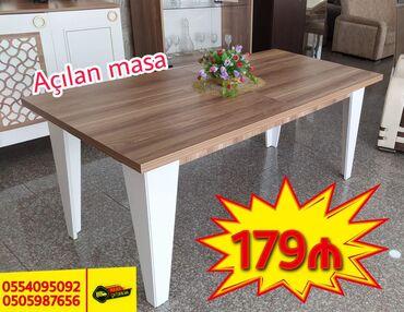 Böyüyəbilən tək masa. Yenidir. Ölçüləri: 180*90 (Açılanda 220*90)