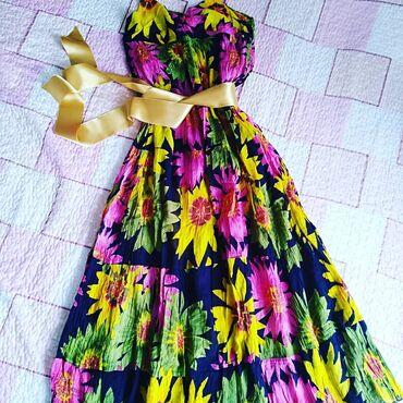 Duga, raskošna, letnja haljina, univerzalna veličina jer u struku ima