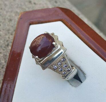 Qaşı Yəmən əqiqi olan gümüş üzük satılır. qiyməti: 120 manat