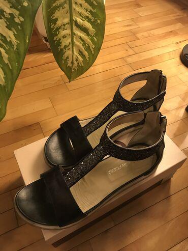 Antonella Rossi-shoe star, ženske sandale crne sa srebrnkastim