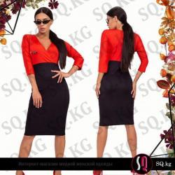 черное платье футляр в Кыргызстан: Платье-футляр с глубоким декольте красно-черного цвета (булавка в