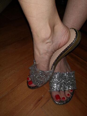 Papuce - Srbija: Kožne srebrne papuče 38