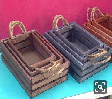 Деревянные ящики с боковыми ручками Набор декоративных ящиков, кашпо д