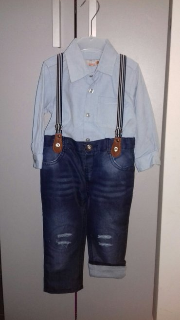 Novo!!! Somotna kosulja i teksas postavljene pantalone na tregere veli - Beograd