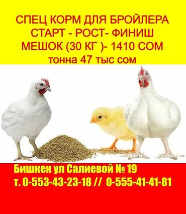 Спец корм для бройлера с высококачественным составом для   цыплят ин
