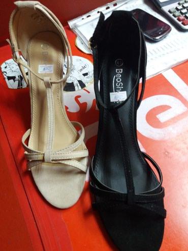 Sandale krem i crne od velura,visina pete je  8 cm,a crne od eko koze - Belgrade
