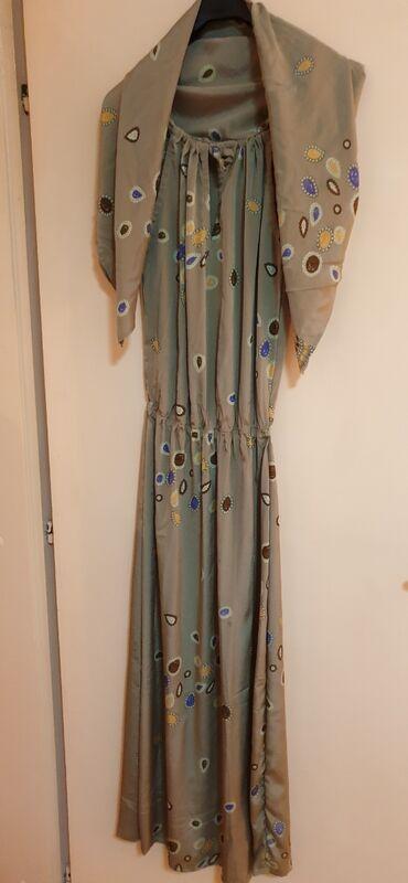 Duga leprsava haljina - Crvenka: MAX MARA-SVILENA DUGACKA HALJINA SA ESARPOM VEL S-M MADE IN ITALY