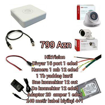 221 elan: HikVisionDivyar 16 port 1 ededKamera 1 mb 12 eded1 Tb yaddaş karti Bns