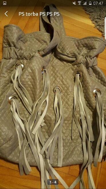 Tašne - Upotrebljen - Pozarevac: PS torba Siva/srebrna Sa resama