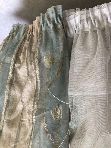Готовые Шторы ткань Турция шёлк, зелёного цвета с золотом красивы