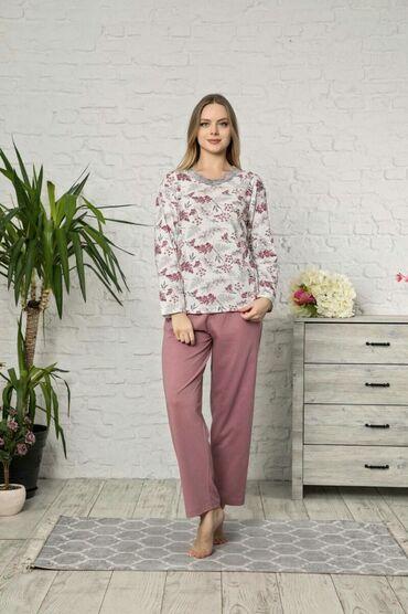 pijama - Azərbaycan: TAMPAP-Damson yarpağı ətraflı pambıq uzun qol pijama dəsti-Material