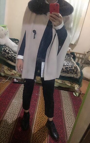 женская пальто в Кыргызстан: Осенняя короткое пальто пончо с норковым воротником. Состояние очень