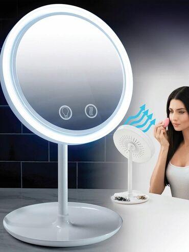 Зеркало настольное с подсветкой и вентиляторомОписаниеЗеркало с