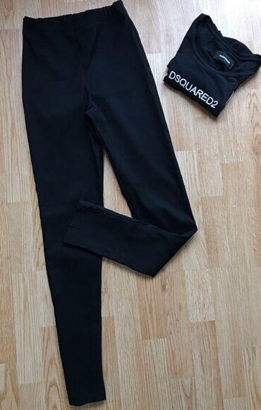 Crne pantalone visoki struk, s-m