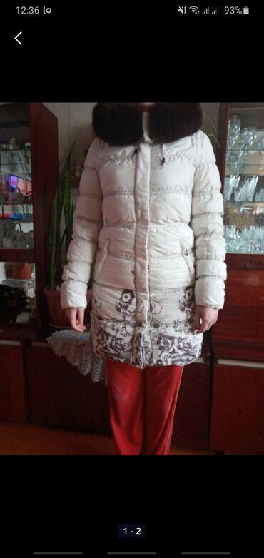 Женская одежда - Кок-Ой: Зимняя очень теплая куртка,мех натуральный, состояние отличное,размер