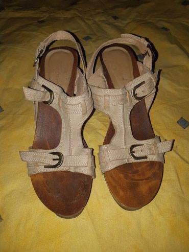 Sandale sa malom, drvenom stiklom, bež boje, broj 39 Jednom nošene - Kragujevac