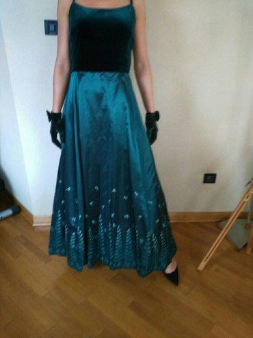 Jakna sitan plis - Srbija: Svecane dugacke haljine, zelena (saten-plis), crna plis dugi rukav