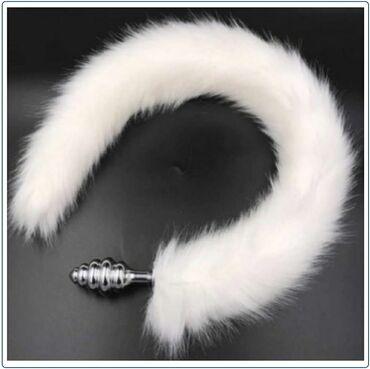 Анальная пробка хвост Ребристый барсАнальный хвостик снежного барса с
