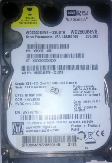 "диски опель зафира в Азербайджан: HDD для ноутбуков 250Gb. Жесткий диск 2.5"" Western Digital WD2500BEVS"