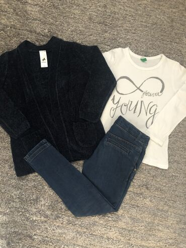 Zara farmerke - Srbija: Zara farmerke, beneton majica i CA plišani džemper, vel 5