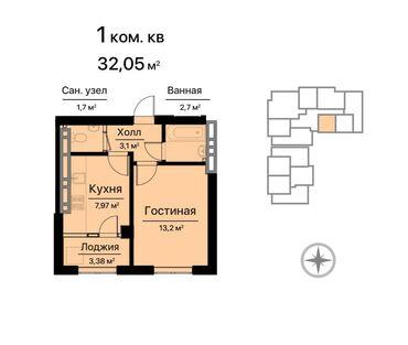 ������������ 1 ������������������ ���������������� �� �������������� в Кыргызстан: Элитка, 1 комната, 32 кв. м Лифт