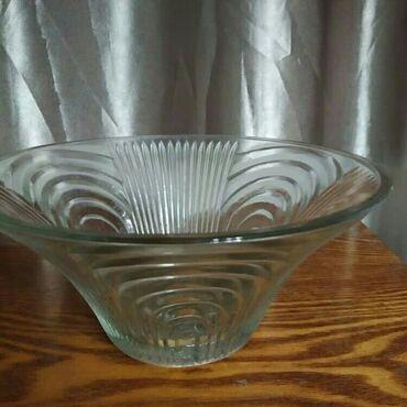 Антикварные вазы - Кыргызстан: Ваза для фруктов стеклянная (диаметр 22см высота 10см)