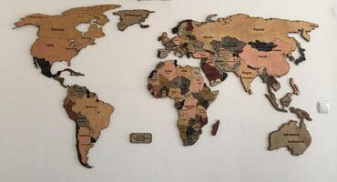мир шин бишкек в Кыргызстан: Настенная-деревянная карта мира, под заказ.Карта мира, настенная