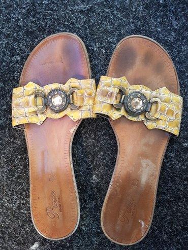 Ženska obuća | Arandjelovac: Papuce od prave lakovane zmijske koze sa snalom vel 39.unutrasnje
