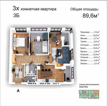 Продается квартира: 3 комнаты, 89 кв. м