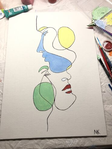 Abstract couple face line 35x25 cm