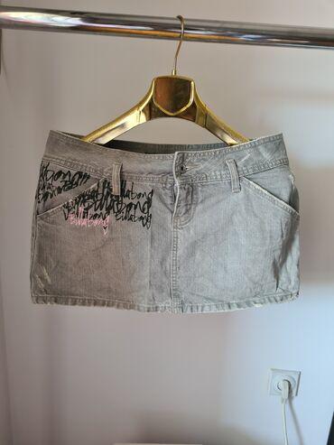 sako sa u Srbija: Siva teksas suknja sa ispisanim printom Velicina 40 ( L ) Nova
