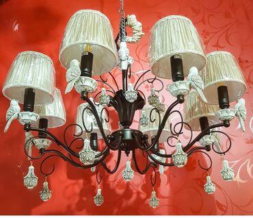 Люстра шляпки количество лампочек 8 птички керамические корпус с