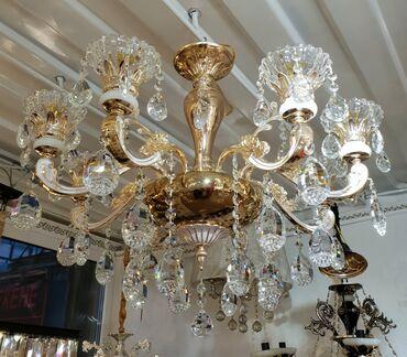 Классическая 8 рожковая люстра для зала и холла цвет золото качество