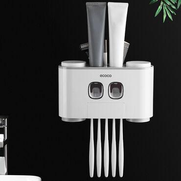 Ecoco Настенный держатель зубной щетки с 2 дозаторами для зубной пасты