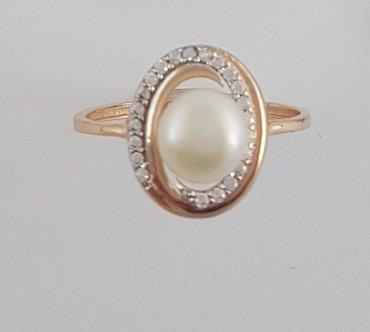 17. 5 кольцо из красного золота. с жемчугом и цирконами в Бишкек
