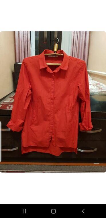 Красная рубашка турецкая хб состояние хорошееразмер s-m   300сом