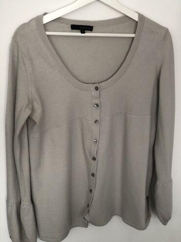 Ženska džemperi - Srbija: Calvin Klein Jeans pulover na zakopcavanje, XL, svetlo siva boja