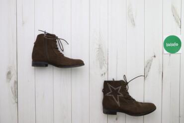 Жіночі замшеві черевики зі стразами на шнурівці, р. 41    Довжина підо
