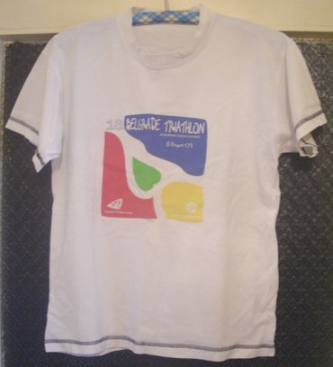 Majica sa beogradskog triatlona. Polovna bela majica, ne previše - Beograd