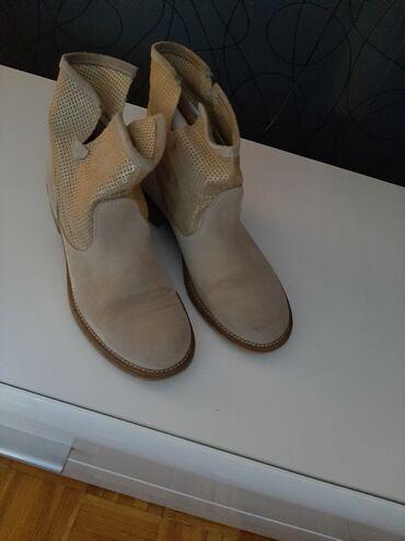 Zenske cizme - Srbija: Zenske letnje italijanske cizme od prevrnute koze br.37.malo nosene